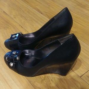 Nine West Black Leather Wedges size 9